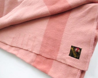 Trapper Point Blanket 4-1/2 Points Rose Pink 100% Wool 78 x 94 Hard to Find Size