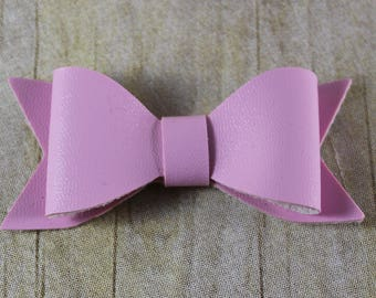Faux Leather Bow in LILAC, Leather Bow, Hair Bow, Headband Bow, Baby Headband Supplies