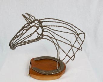 Equine metal wire horse head sculpture made with recycled material