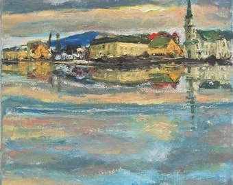 Serene -Reykjavik Landscape Painting Art Print, Iceland City, Water Reflections, Clouds Sunset, Icelandic houses, Impressionist, Pastel Blue