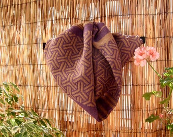 Handmade Snood Fashion Knitted Geometric Brown and purple - Ghucci Snood- by Knit Mystique  Ask a Question