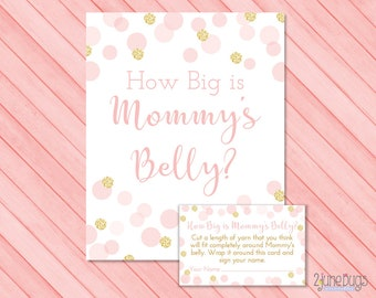 Confetti How Big Is Mommy's Belly Baby Shower Game, Pink and Gold Glitter Belly Guessing Game, Guess Belly Size, PRINTABLE INSTANT DOWNlOAD