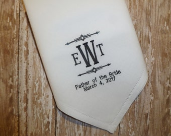 MONOGRAM Father of the Bride Handkerchief Custom Personalized Wedding Embroidered Hankerchief