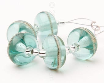 Aqua Chic Stripes - Handmade Lampwork Glass Beads by Sarah Downton