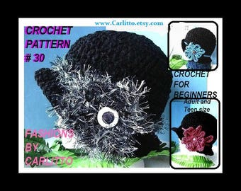 crochet pattern hat, 30  ADULT AND TEEN Black Cloche  Crochet Hat Pattern. hat Crochet pattern For Beginners. instant download