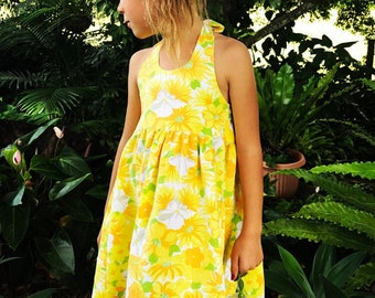 Yellow vintage girl dress made from an incredible yellow vintage cotton - made to order in sizes 1 - 7 years halter retro daisy floral