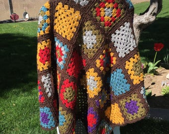 Granny Square Crocheted Afghan Lap Blanket