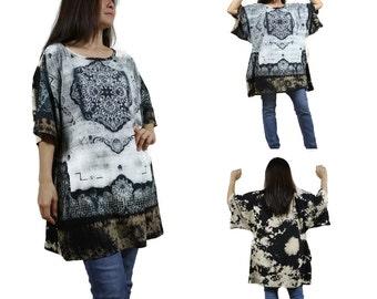 SALE - Tie Dye Black Printed Cotton Jersey Women Oversized Tunic Top Poncho With Kimono Sleeve
