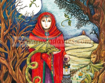 Dragon Lady, One Yule Christmas card: Snow Dragon and his fairy blank