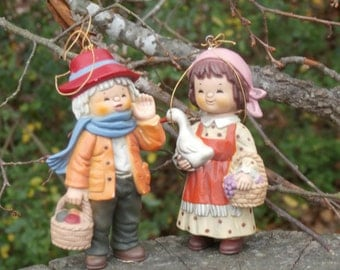 Vintage Boy with Fruit and Goose Girl Christmas Ornaments, Cute Hong Kong Plastic Villagers