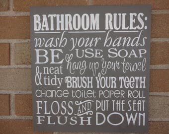 "BATHROOM Decor/Bathroom Rules Sign/Home Decor/Bathroom Typography Sign/ Wood SIGN/Rustic/Country/ PriMiTiVe/DAWNSPAINTING/Grey 12"" x 12"""