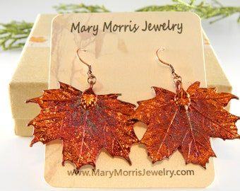 RESERVED - Iridescent Copper Maple Leaf Earrings