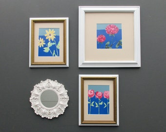 "wall collage - ""Flowers and Clover"" - wall art gallery - 4 pieces - cottage white"