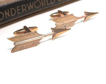 Raw Brass Arrow Cuff Links - Bow and Arrow Cufflinks - Wedding Cuff Links - Bridal Party - Feathers and Arrow