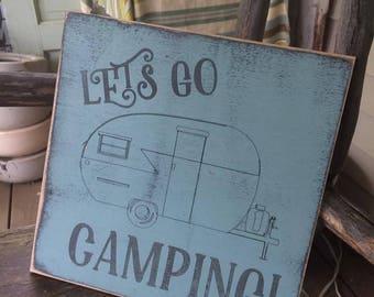 "Rustic/Vintage ""Lets Go Camping"" Decor Sign"