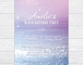 Shabby Chic Beach Birthday Invitation, Sparkle Beach Theme Party Invitation, Fun in the Sun Birthday Invitation, Teen Birthday Invitation
