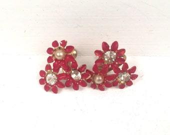 Vintage 1960s Red Flower Clip on Earrings with Pearl and Rhinestone Accents