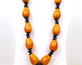Vintage 1980s Large Light Brown Wooden Beaded Necklace with Navy Blue Spacers