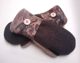 Boiled wool, cashmere, browns, medium mittens, recycled sweaters, women's mittens, fleece lined mittens, mittens with buttons