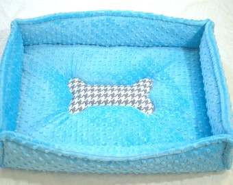 Small Blue Minky Puppy Doggie Bed Personalization Available
