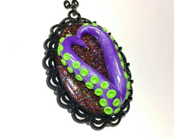 Tentacle cameo necklace. Octopus necklace. purple green, multi color. Gifts for her. heart necklace