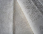 Excellent unused French linen damask tablecloth and napkin fabric, to be hemmed.  Bed cover, cushions