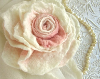 Blush Rose Stole Pin - Bridal Wrap Brooch - Large Flower Pin - Rose Scarf Pin - Blush Rose