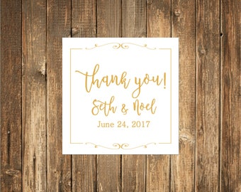 Thank You Wedding Stickers-Thank You Stickers- GOLD FOIL Stickers