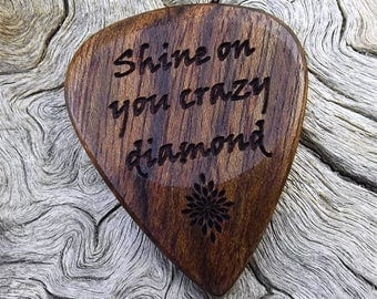 Wood Guitar Pick - Premium Quality - Handmade With Caribbean Rosewood - Laser Engraved On Each Side - Actual Pick Shown