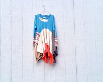 Tshirt Dress, Upcycled Clothing, Lagenlook, Boho Clothing, Fun Clothes, Loose Fit, Recycled Clothing, Repurposed Clothing, Artsy Tunic