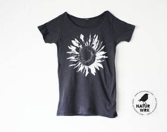 Womens Flower Shirt - White Sunflower - Bamboo - Organic Cotton - Small, Medium, Large and Extra Large, 2XL - Clothing