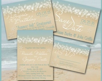 Beach INVITATION / Summer Ocean Waves Aqua Sand / Engagement, Save the Date, Shower, Destination Wedding, Birthday, Anniversary Party, RSVP