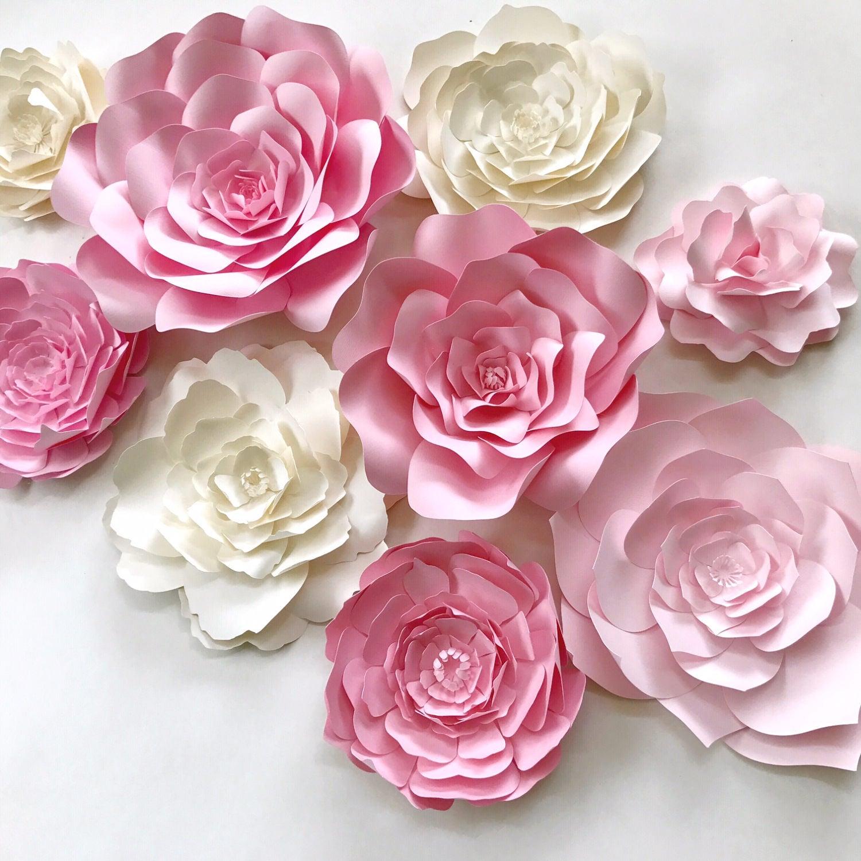 pink paper flower wall decor large paper flower backdrop. Black Bedroom Furniture Sets. Home Design Ideas