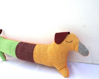 Handwoven dachshund dog, pillow, plush,softie