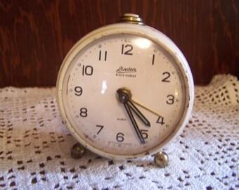 Vintage Wind Up Linden Alarm Clock, Black Forest,  Mechanical Alarm Clock, Western Germany, Made in Germany, Shabby Cottage, Works Great