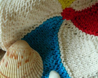 Hand Knit Beachball Dishcloth Set of 2