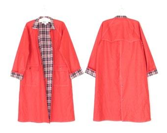 Vintage Red Raincoat * 80s Trench Coat * Long Rain Jacket * Medium