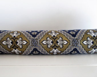 Gold, Blue and White Floral Tile Fabric Draft Stopper Draft Blocker for Doors or Windows