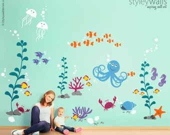 Sea Life Animals Wall Decal, Ocean Wall Decal Sticker, Underwater Wall Decal, Aquarium Fishes Nursery Playroom Wall Decal