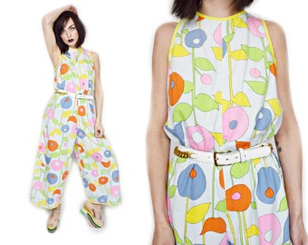 VTG 1960s Psychedelic Flower Pastel Floral One Piece Jumpsuit Bell Bottoms