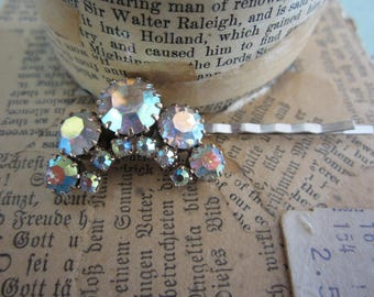 Handmade Bobbie Pin with Large Vintage Rhinestones Hair Accessory