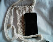 Natural Cross Body Cell Phone Pouch Crochet