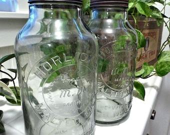 "2 Antique Horlick's Malted Milk Jars 11"" tall; zinc lids (1 jar or both)"