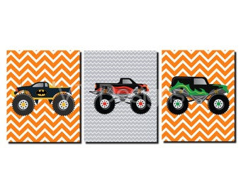 Monster Trucks, Boys Room Wall Art, Toddler Boys, Big Boy Room, Orange, Gray, Chevron, Boys Room Decor, Prints or Canvas, Set of 3