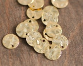 10pcs Hammered Disc Charms 10mm, Polished 24K Gold plated Brass Round Coin Charms (GB020)