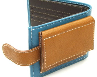 Bespoke leather purse with six card slots, coin pocket and billfold - custom made to order
