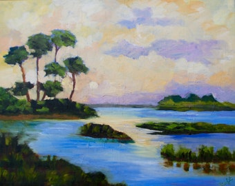Modern Impressionist Marsh Palmetto Tree Landscape of Original Oil Painting by Rebecca Croft
