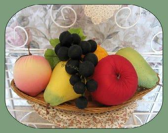Retro Kitchen Fruit Decor Apple Fruit Decoration Orange Fruit Centerpiece Pear Fruit Grapes Fruit Peach Fruit Fake Faux Retro Kitsch Kitchen