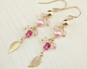 RESERVED for L Custom Order Balance for Solid Gold Pink Sapphire Pearl Rose Quartz Dangle Earrings