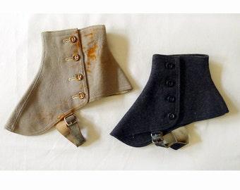 Collectible item!!!   Antique Vintage Victorian Steampunk Style Wool Felt Men's Spats.